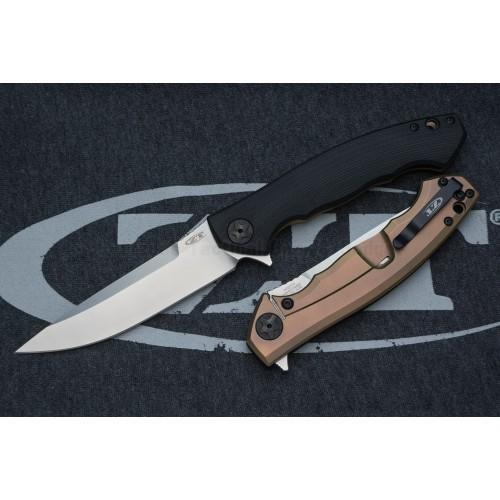 """มีดพับรุ่นพิเศษ Zero Tolerance 0452G10 Flipper Knife Black G-10/Bronze Ti (4.1"""" Satin M390) *Sprint run*"""