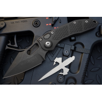 "มีดออโตเมติค (Side opening) มีดออโต้ Microtech Stitch Automatic Knife Black (3.75"" Apocalyptic DLC),169-1DLC"