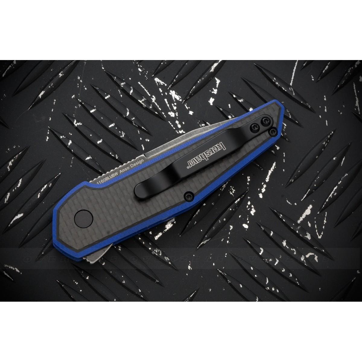 """มีดพับ Kershaw Anso Fraxion Liner Lock Knife Carbon Fiber/Blue G-10 (2.75"""" BlackWash) 1160BLUBW"""