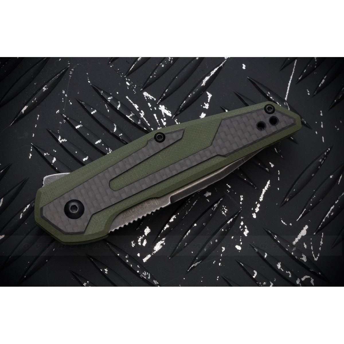 """มีดพับ Kershaw Anso Fraxion Liner Lock Knife Carbon Fiber/OD Green G-10 (2.75"""" BlackWash) 1160OLBW"""