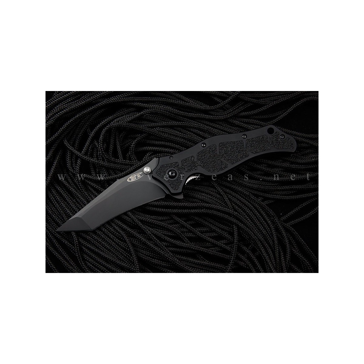 "Zero Tolerance Model 0400 Assisted 3-3/4"" S30V Plain Tanto Blade, Black Aluminum Handles"