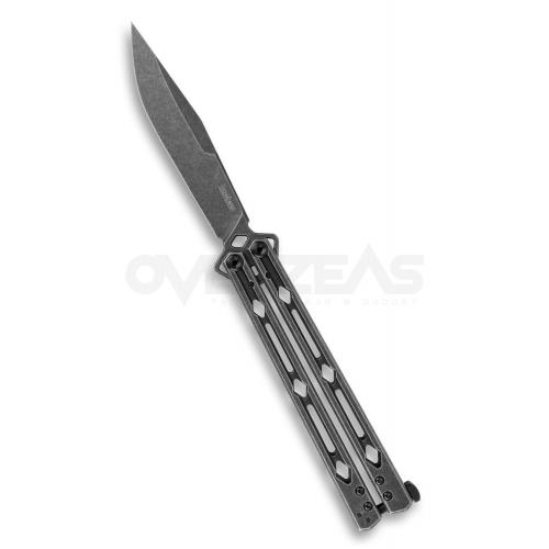 "Kershaw Lucha Balisong Butterfly Knife Blackwash (14C28N 4.5"" Blackwash),5150BW"