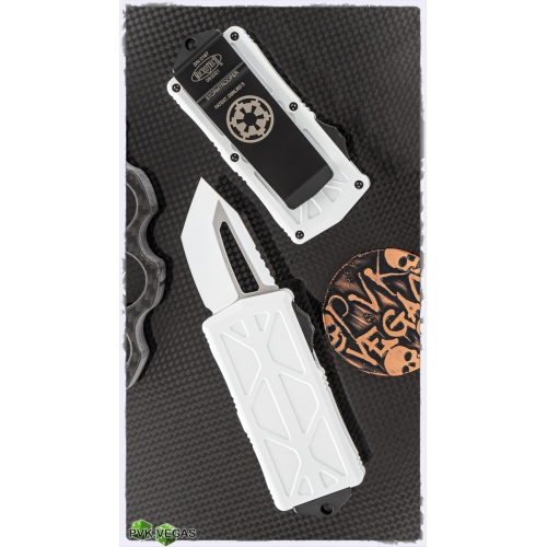 """Microtech Exocet Tanto Stormtrooper CA Legal OTF Auto Knife (M390 1.9"""" White ),158-1ST"""